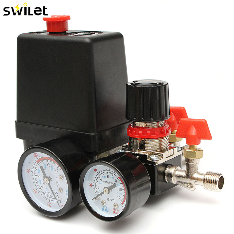 30-120PSI Air Compressor Pressure Valve Switch Manifold Relief Regulator Gauges 240V 20A free shipping 7 25 125psi air compressor pressure switch control15a 240v ac adjustable air regulator valve compressor four holes