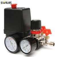 30 120PSI Air Compressor Pressure Valve Switch Manifold Relief Regulator Gauges 240V 20A