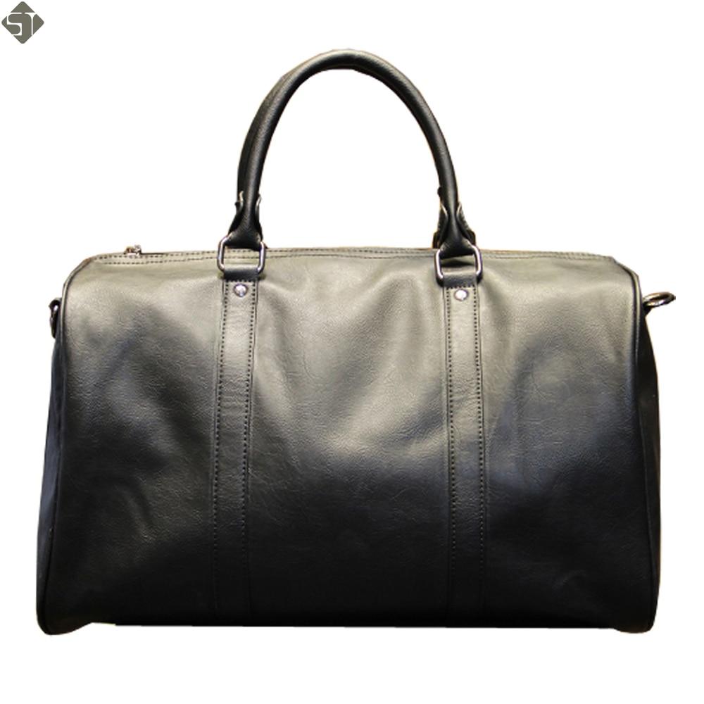 Fashion mens leather travel bag vintage duffle handbags