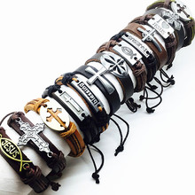 Christian Jewelry 10 pcs Leather Metal Mixed Cuff Bracelets