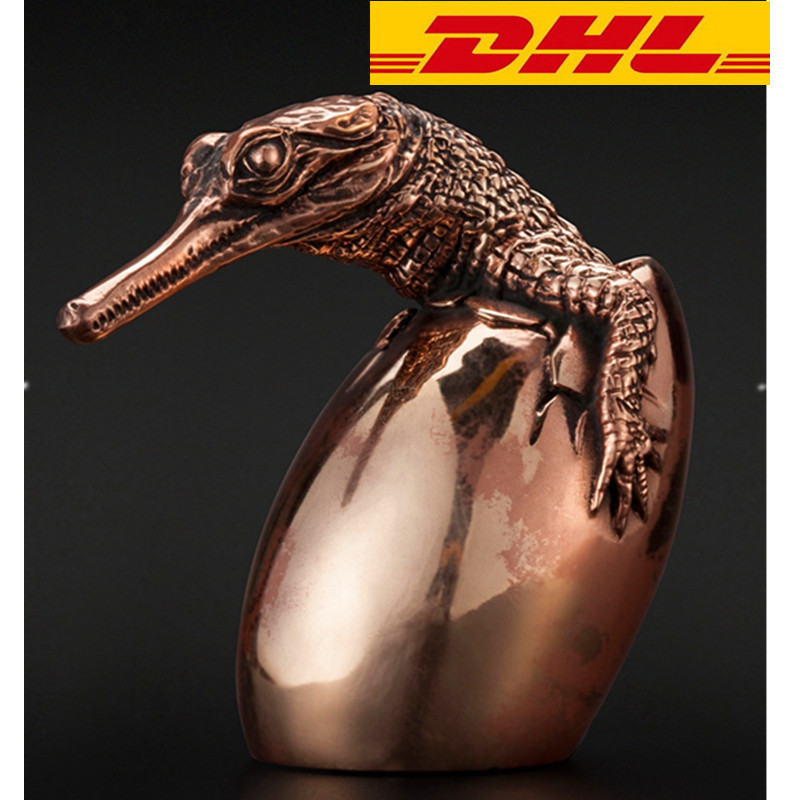 Bronze Dragons Gavial Testa Chipping Decoration Gift Crafts Exquisite Mouth  Collectible Model Boxed T115 dragons
