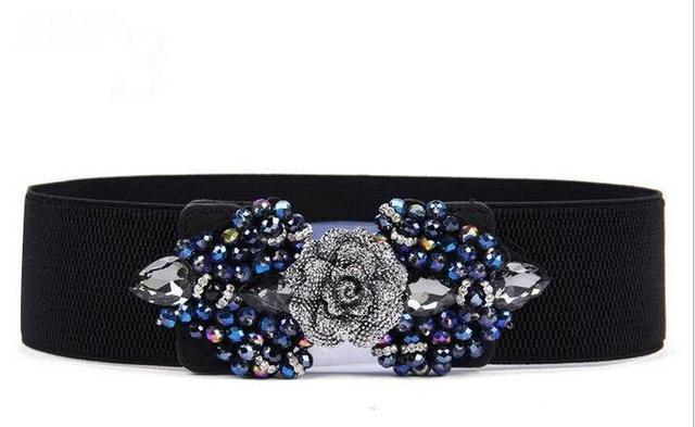 2016 Mais Recente moda brilhante Rhinestone cristal flores acessórios mulheres cinto cinto cinto cinto elástico vestido da senhora elegante