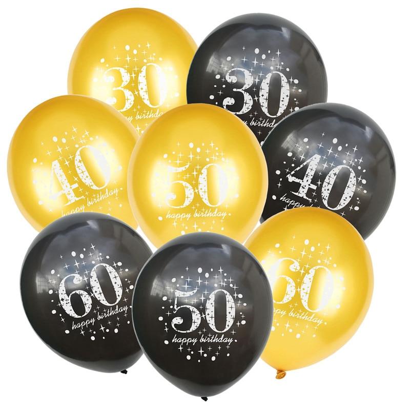 5 pièces joyeux anniversaire numéro impression ballons or noir Latex Ballon Globos 16 18 30 40 50 60 70 80 90 ans fête danniversaire
