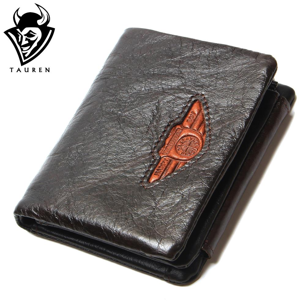 TAUREN Men Wallet 100% Design Men Trifold Wallets Fashion Purse Card Holder Wallet Man Genuine Leather With Zipper Coin Pockets
