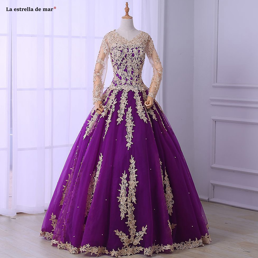 Vestido de noiva 2019 new lace long sleeve red fluffy purple pregnant women long sleeve wedding dresses long real photo