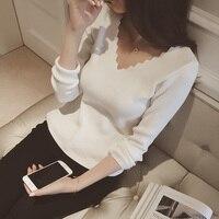 Nouvelles femmes De Mode manches longues col v mince chandail femelle tout-allumette mince de base tricoté chemise filles solide couleur pull vêtements