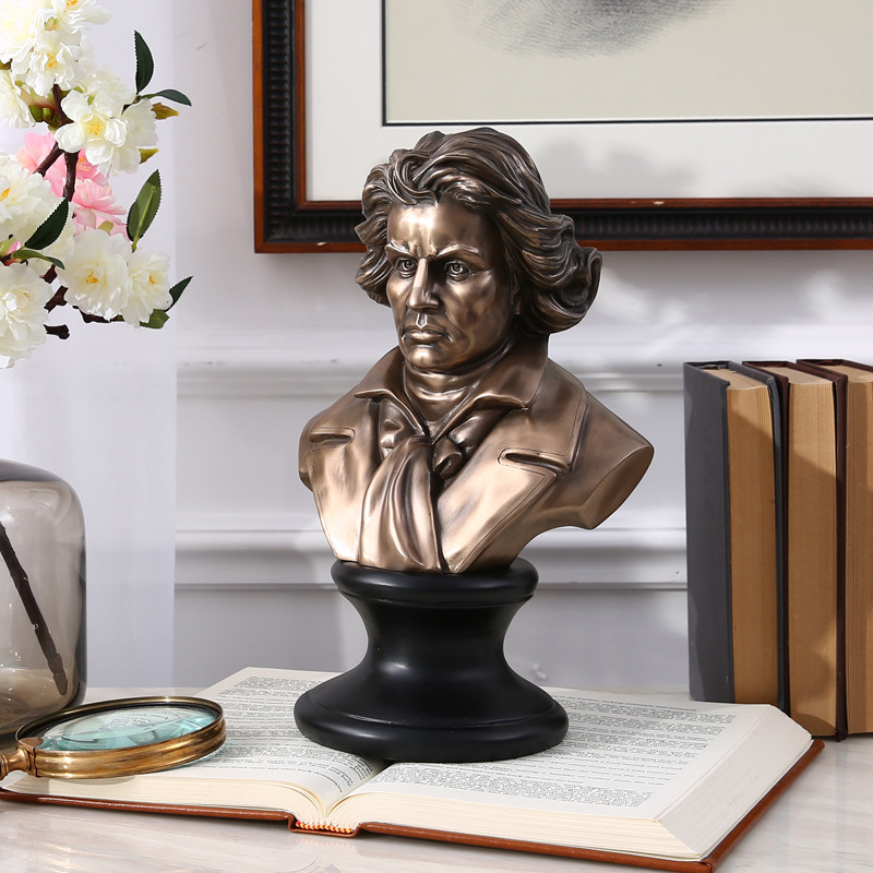 Retro Music Ludwig Van Beethoven Bust Plaster Statue Copper+Resin Colophony Crafts Sketch Teaching Collectible Decorations L1765