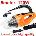 Car vacuum cleaner wet and dry dual-use super suction 5meters 12v,120W tile car vacuum cleaner free shipping