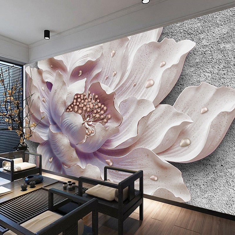 Custom Mural Wallpaper 3D Stereo Peony Canvas Painting Flowers Living Room Bedroom Wall Decor Self-adhesive Removable Sticker