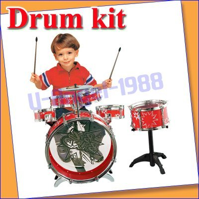 Gift Idea New Kids Chiled Rocking Drum Set kit Musical Instrument red Wholesale drop shipping