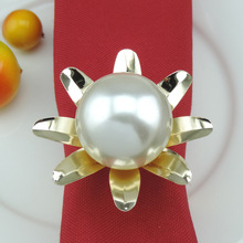 10PCS metal napkin buckle pearl flower ring mat towel circle home model room decoration