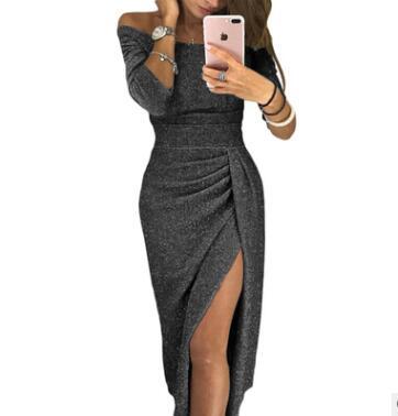 Cou Longueur Taille Robes Sept Et Ceintures Fourche Sexy exposés D'épaule manches Couleur lavande Plancher D'hiver Solide Haute Slash Automne Ouvert bourgogne Noir bleu De gris 6Aqxzq