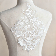 5Pieces Soft Lace Appliques Wedding Patch Embroidered Dress Motifs Venise Fabric Flowers For Dresses