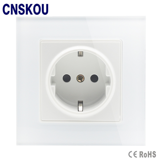 Cnskou Luxury French Socket White Crystal Glass Switch 2 Pin French ...