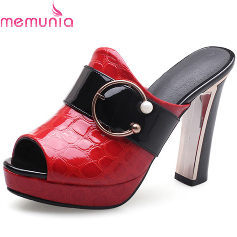 MEMUNIA new arrive women high heels mules fashion peep toe buckle platform summer shoes prom shoes big size 34-42