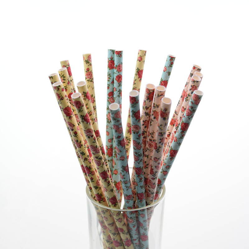 25pcs Big Rose Creative Paper Drinking For Kids Birthday Wedding Party Party Decoration Christmas Retro Floral Paper Straws