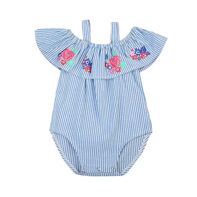 fbd055072018 Pucoco Newborn Baby Girls Flower Off Shoulder Romper Jumpsuit Striped Blue  Clothes Summer Infant One-peice Sunsuit Clothing