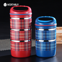 WORTHBUY Stainless Steel Japanese Thermal Bento Box Portable Fruit Food Containers Sealed Striped Lunch Boxs For