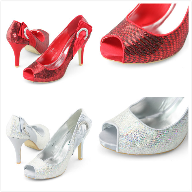 Clearance Shoes SHOEZY new glitter silver red wedding bridal shoes peep toe brand pumps woman satin bow high heels sparkly - & LARA's Flagship Store store