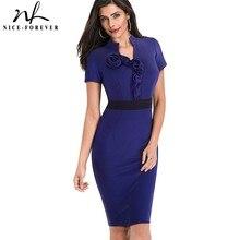 Nice forever Vintage Elegant Contrast Color Patchwork Wear to Work Rose vestidos Bodycon Office Business Sheath Women Dress B439