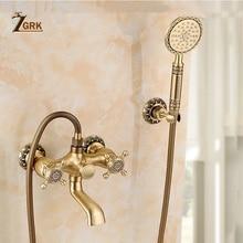 ZGRK Shower Faucets Bathroom Mixer Taps Top Spray Rainfall Shower Head Washing Faucet Antique Shower System Plumbing Crane