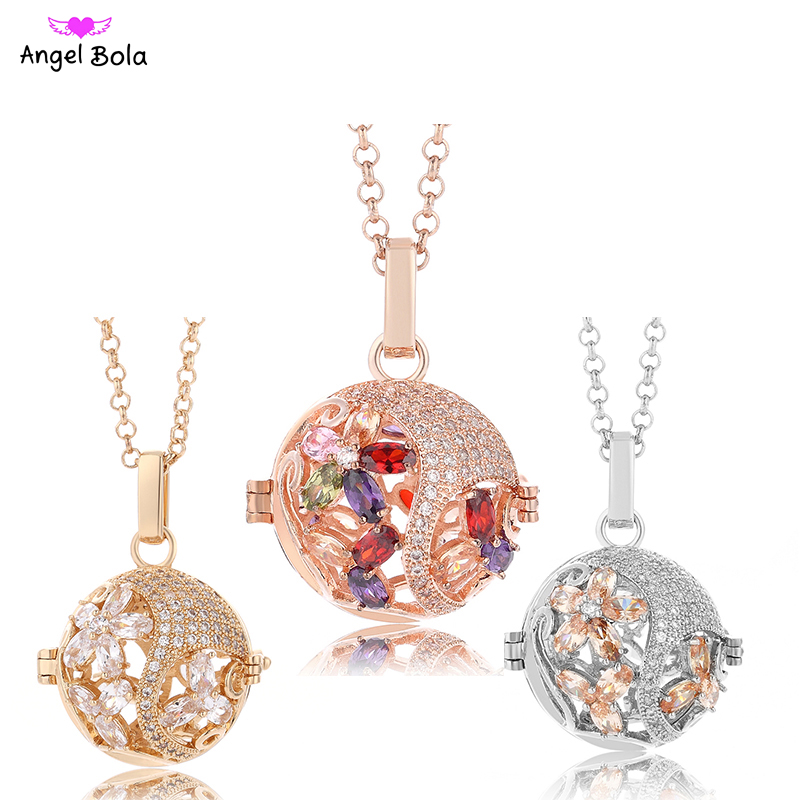 2018 New CZ Diffuser Necklaces Cage Zircon Jewelry Sound Pendants for Mom Aromatherapy Gifts NL102 Free Shipping ...