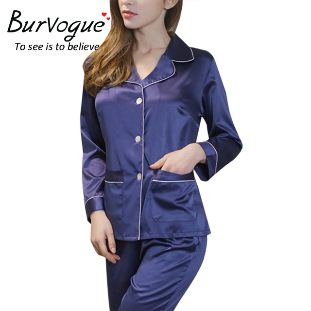 Burvogue Silk Pajamas Set Long Sleeve Sleepwear Homewear two piece Night  Wear Satin Pajamas Nightdress Loungewear 3dcb0fa29