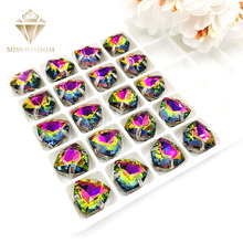 12mm Fat Triangle Rainbow color High quality Glass Crystal sew on rhinestones sliver base with hole diy/clothing accessories
