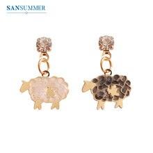 SANSUMMER 2019 New Alloy Cartoon Little Lamb Shape Casual Gold Ear Stud Cute Personality Fashionable Earrings For Women 5607 цена в Москве и Питере