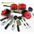 Последние новинки красный столовые приборы 13 шт. ребенка играть дома моделирование посуда / раннего детства игрушки для кухня столовые приборы HT90900RE