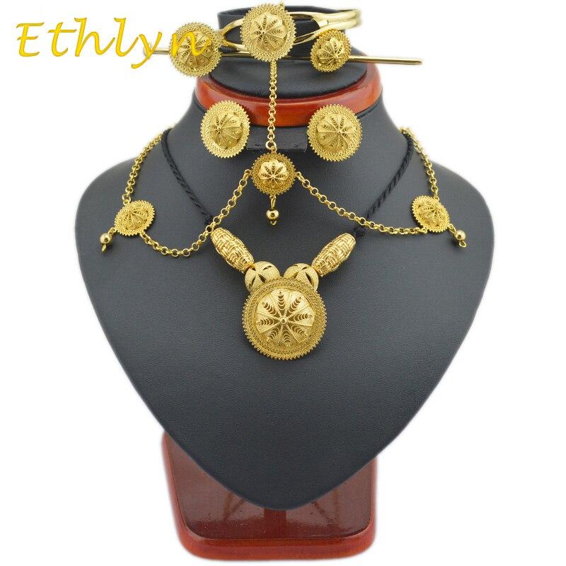 40c0c50399cf Ethlyn DIY etíope joyería conjuntos oro color joyería 6 unids y joyería  africana para Etiopía Mejores Regalos de las mujeres