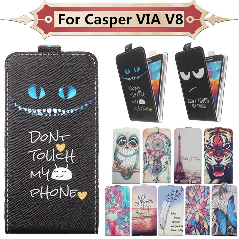 Top Selling 11 Colors Cartoon Pattern Up and Down Flip PU Leather Case For Casper VIA V8 image