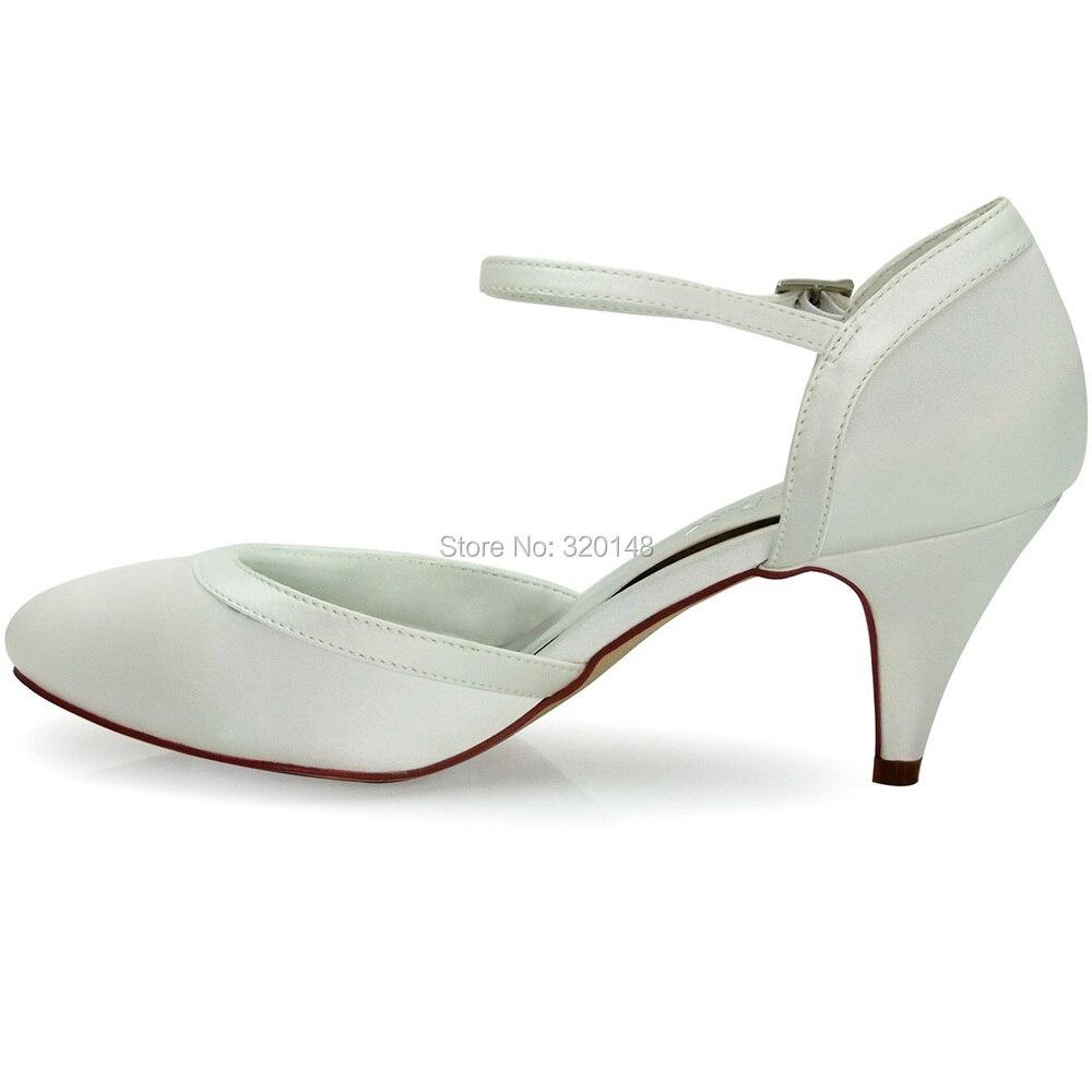 Élégant Hc1509 Parc Boucle Ronde Orteil Talons Hauts De Femmes De Satin Membres Chaussures De Mariée - Ivoire, Taille: 39