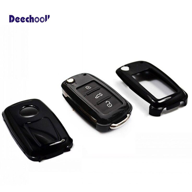 Deechooll Cas de Clé de Voiture pour VW Seat Skoda clés pliantes 2010 +, auto Couvercle De la Télécommande Accessoires pour POLO T5 Passat Golf Leon Octavia