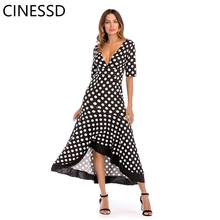 CINESSD Polka Dot Dress Deep V-neck Irregular Ruffled Bohemian Long Open Back Ankle-length Dress 2019 Summer Women's Dress plus crisscross v back glitter dot dress