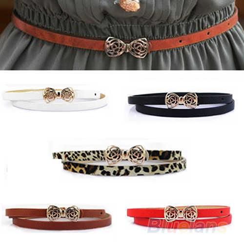 أزياء المرأة سيدة بو الجلود bowknot الخصر الضيق رقيقة الحزام زنار حزام
