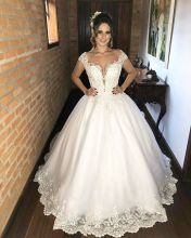 Vestido De Noiva Princesa Beaded Lace A Line Wedding Dresses 2019 Cap Sleeve Illusion O Neck Buttons Back Bridal Wedding Gowns 2015 new romantic white mermaid wedding dresses lace bridal gowns cap sleeve backless buttons v neck vestido de noiva w3567