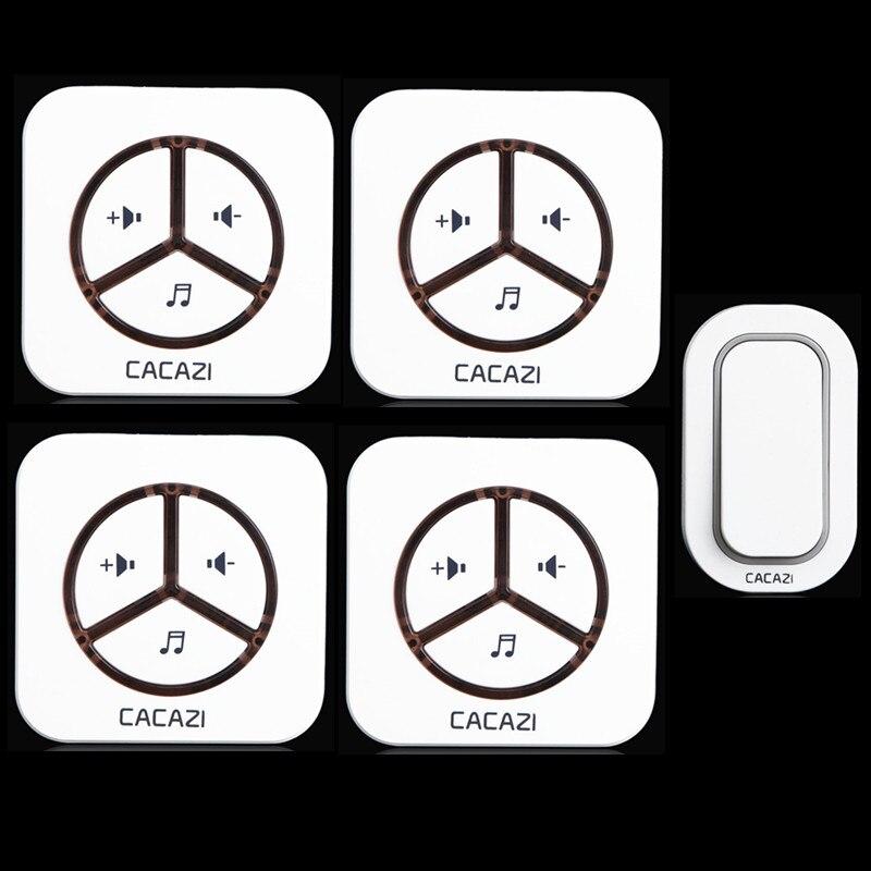 ФОТО 110-240V DoorBell 9909 White,Waterproof Plug-in Type Wireless Smart DoorBell electric doorbell,1 Transmitters + 4 Receiver