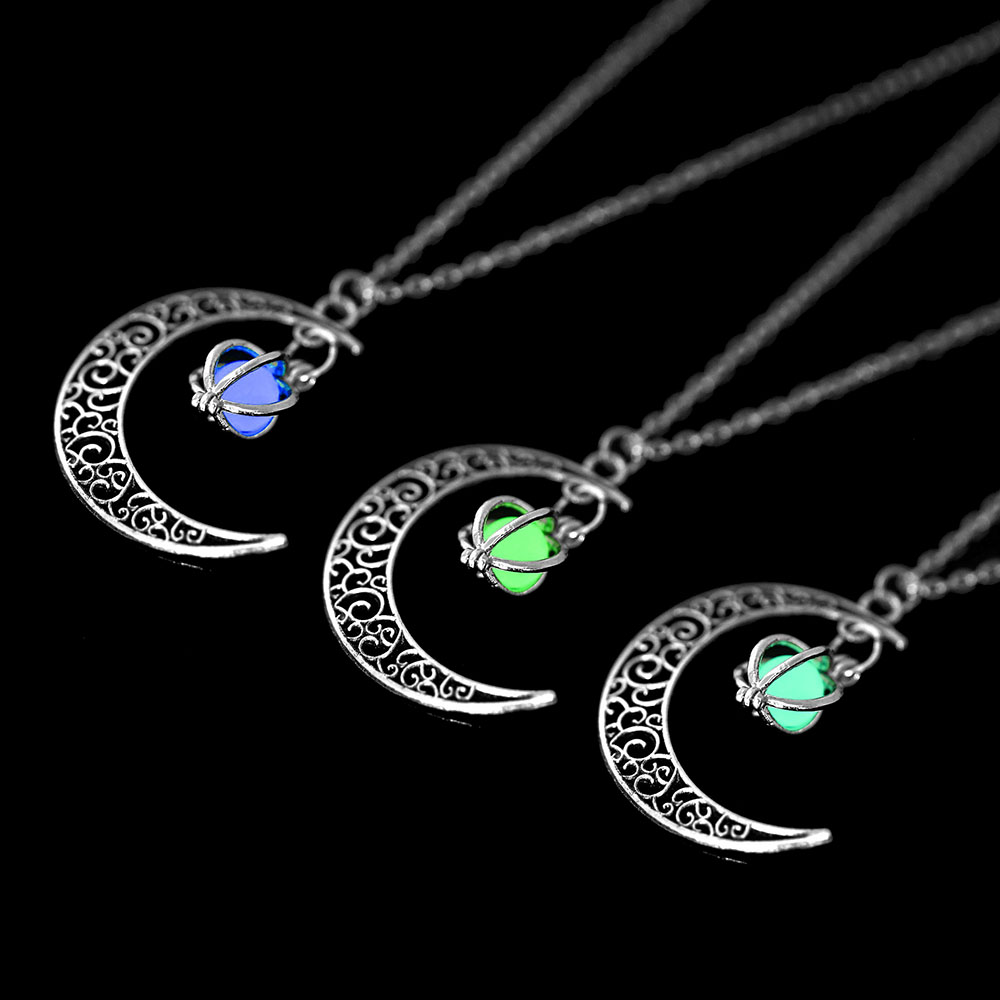 Vienkim Neo-Gothic Luminous Pendant Necklace Women Charm Moon In The Dark Glowing Stone Necklaces For Jewelry Christmas Gifts 11