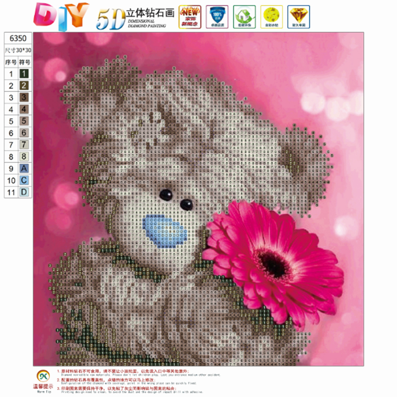 5D Diy Diamond Embroidery 3D diamond Painting cross stitch kits cute bear flower picture mosaic pattern new year kids for gift