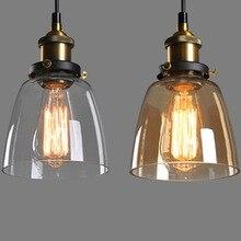E27 держатель лампы Старинные промышленные лампы Тени ресторан светильник абажур Стекло Старинные Ретро Подвесной Светильник Подвесные Светильники