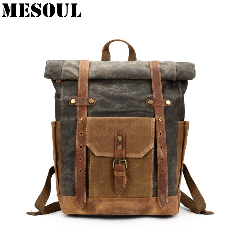 Vintage Military Backpack Male Travel Bag Large Capacity Waterproof Backpack School Shoulder bagpack Canvas Men Casual Daypacks large 14 15 inch notebook backpack men s travel backpack waterproof nylon school bags for teenagers casual shoulder male bag