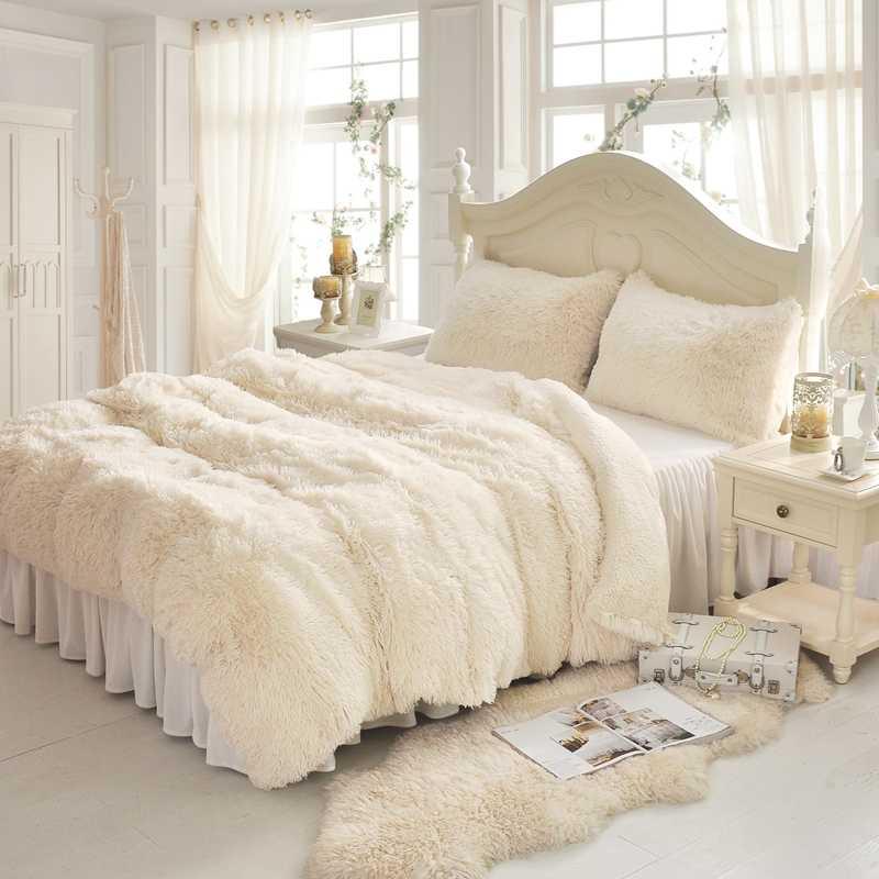 Weiß Blau Rosa Lila Grau Warme Nerz Samt Bettwäsche Set Weiche Berber Fleece Bettbezug Flanell Bettlaken Bett Rock kissenbezüge