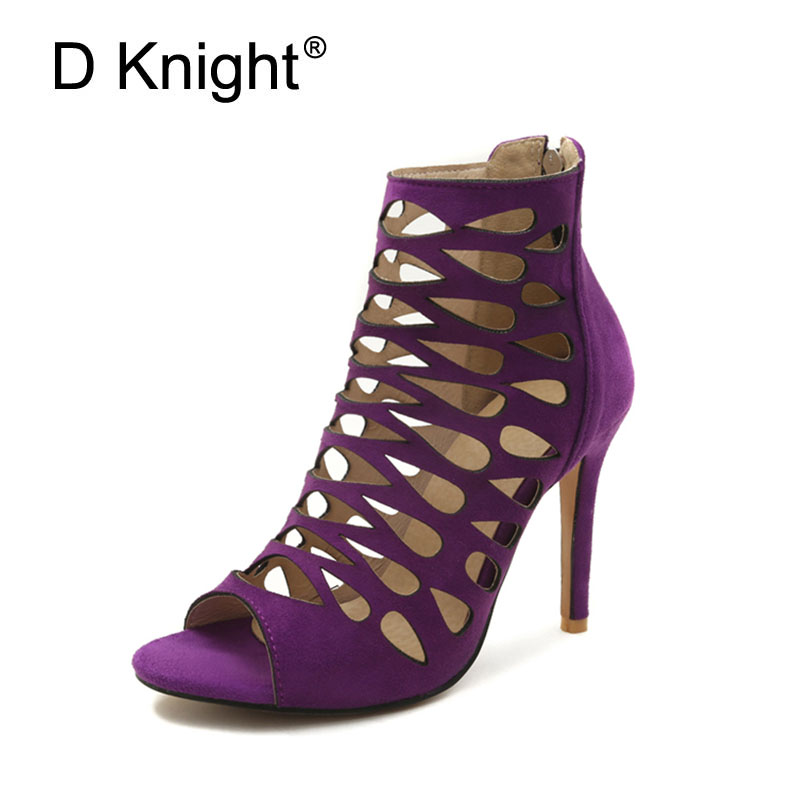 Women Sandals Plus Size Fashion Zip High Heel Summer Women Pumps Shoes Woman Sexy Office Lady Gladiator Sandal Women Purple Shoe 2018 summer new arrived strap design wedges women sandals peep toe comfort mid heel sexy lady sandal fashion student casual shoe