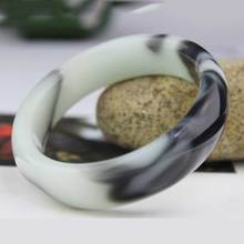 KYSZDL Hot natural Hetian stone black and white floating flower Bangles fashion lady quartzite Yu bracelet jewelry gifts