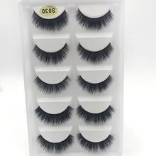 3D hand mand Mink Hair False eyelashes natural 1.5-1.6cm long Luxurious Fake eyelash thick Black eye lashes 1 set = 5 pairs