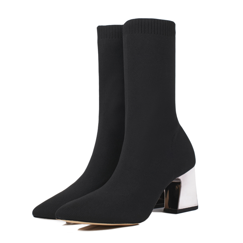 Autumn Winter Pointed Toe Boots Women's Thick Heel Mid-calf Boots Female Knitting Socks Stretch Fabric Women's High Heel Boots ombre circle calf length socks