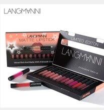 Langmanni 12pcs/Set mist Matt Liquid lip gloss makeup Waterproof Nutritious Velvet Long Lasting Red Tint Nude batom Lipstick цены