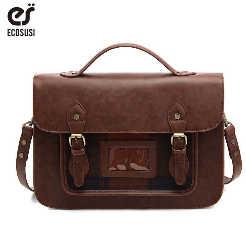ECOSUSI Women PU Leather Handbag Retro Women  13'' Laptop Messenger Bags Vintage Faux Leather Briefcase Shoulder Bag