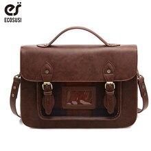 цена на ECOSUSI 13'' Women PU Leather Handbag Retro Female Laptop Messenger Bags Vintage Faux Leather Briefcase School Shoulder Backpack
